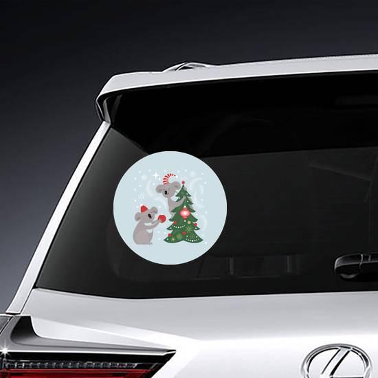 Koalas Decorating Christmas Tree Sticker