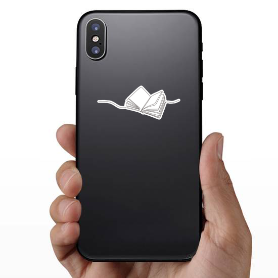 Line Drawing Open Book With Flying Pages Sticker