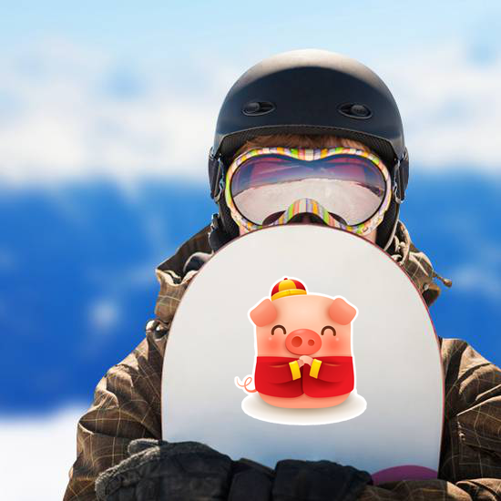 Little Pig With Traditional Chinese Costume Sticker