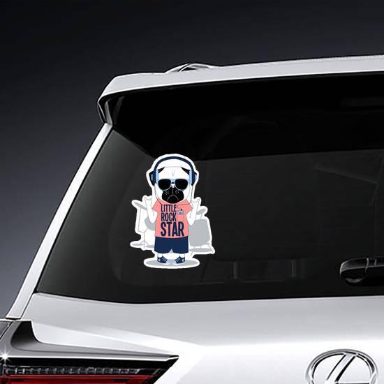 Little Rock Star Pug Dog Drummer Sticker