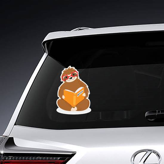 Little Sitting Sloth In Red Glasses Reading Sticker example