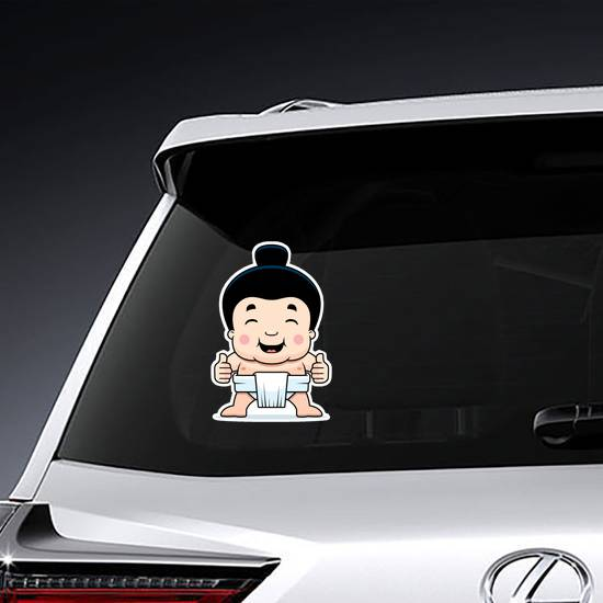 Little Sumo Boy Giving The Thumbs Up Sign Sticker example