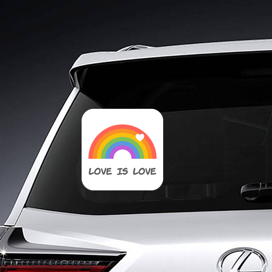 Love Is Love Rainbow With Heart Sticker