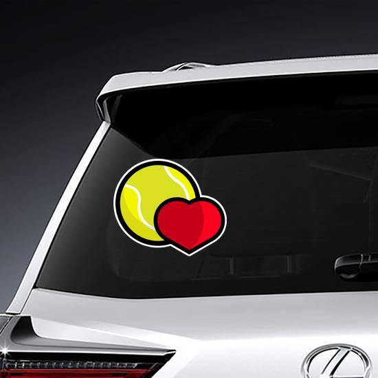 Love Tennis Heart Logo Sticker