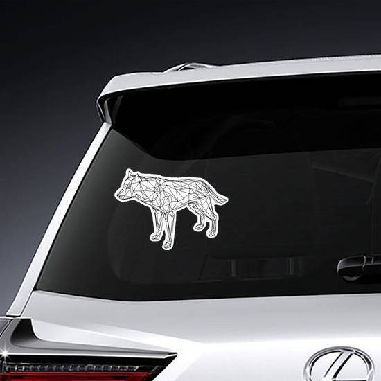 Low Poly Line Art Wolf Sticker