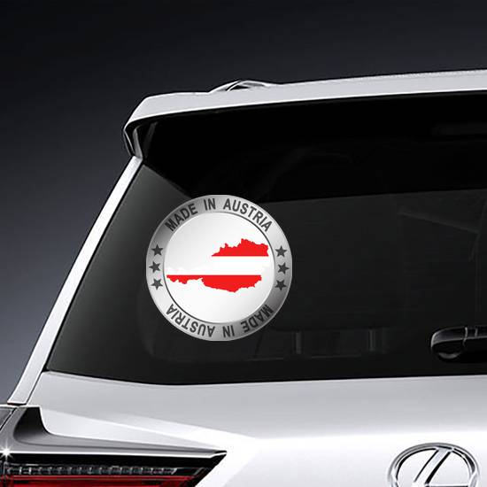 Made In Austria Silver Frame Circle Sticker example