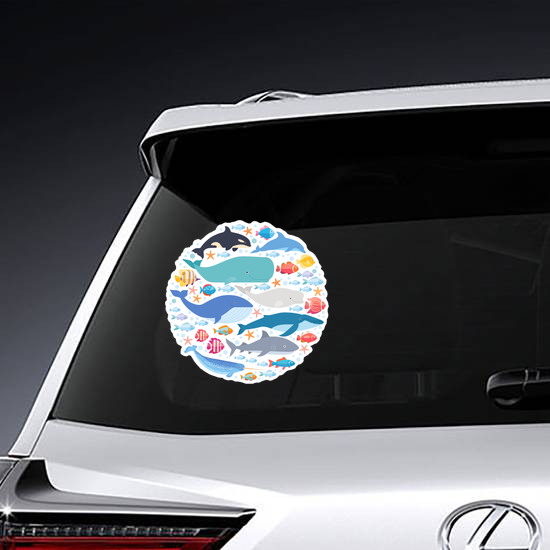 Marine Mammals And Fish in Circle Sticker