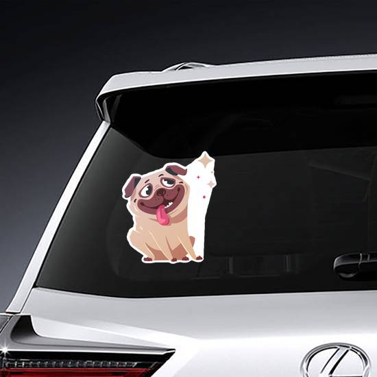 Mesmerized Cartoon Pug Sticker