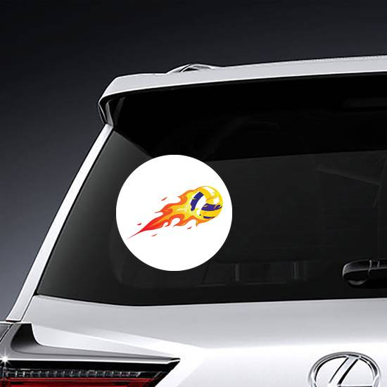Modern Flaming Volleyball Sticker