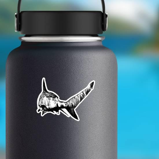 Monochrome Shark Sketch Sticker