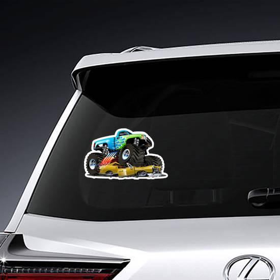 Monster Truck Crushing Car Sticker