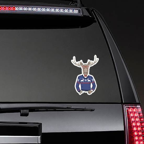 Moose Dressed Up In Jacquard Pullover Sticker