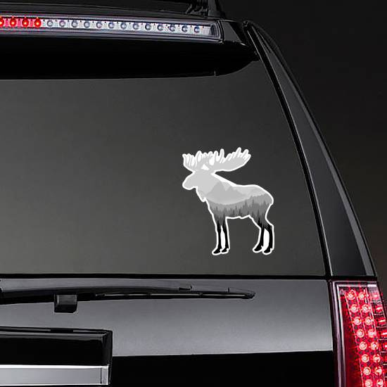 Moose Silhouette With Drawn Forest Sticker
