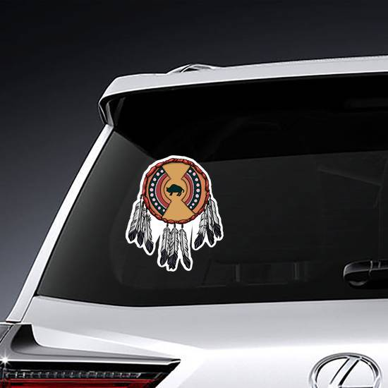Native American Shield With Feathers Sticker example