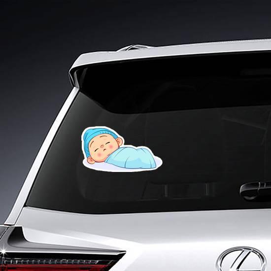 Newborn Sleeping Baby Boy Sticker example