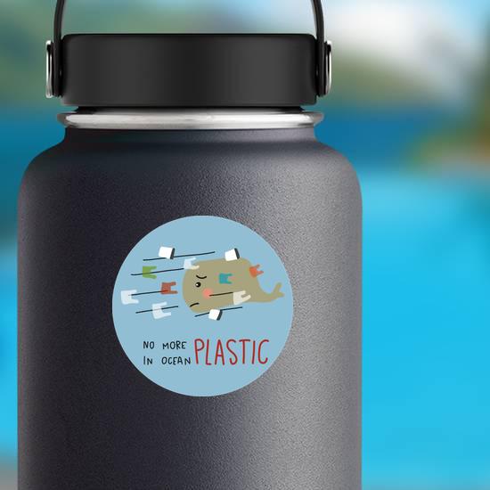 No More Plastic In Ocean Sad Whale Sticker