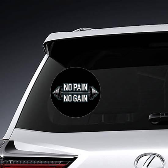 No Pain No Gain Bodybuilder Circle Sticker