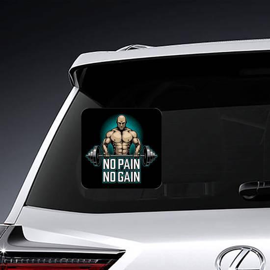 No Pain No Gain Bodybuilder Sticker