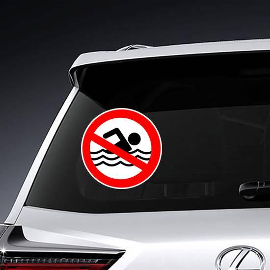 No Swimming Hazard ,warning Sign Sticker example