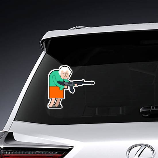 Old Lady with Assault Rifle Sticker