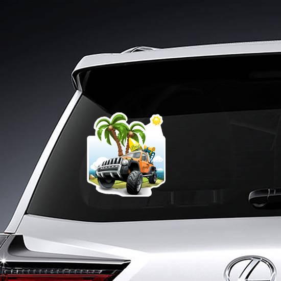 Orange Off Road Vehicle a Beach Sticker