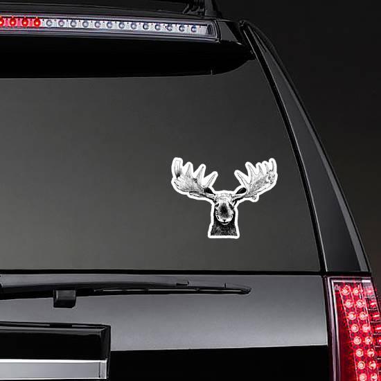 Original Black White Hand Drawn Moose Sticker