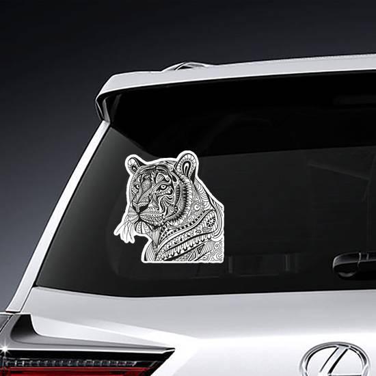 Ornamental Tiger Portrait Sticker example
