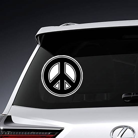 Outlined Peace Sign Sticker example