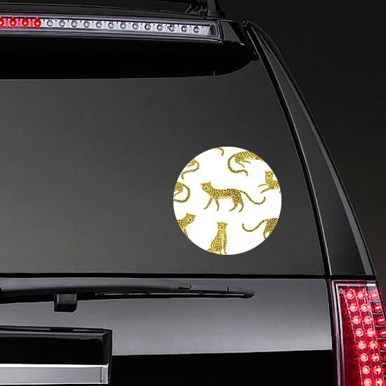 Pattern With Cute Cartoon Cheetahs Sticker