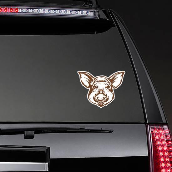 Pig Head Line Art Ink Sketch Sticker