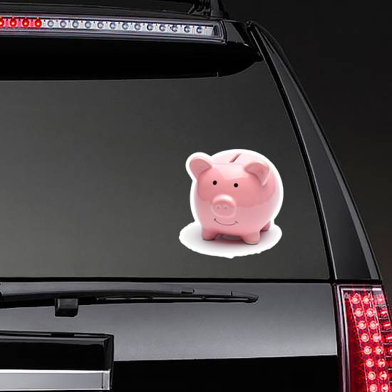 Pink Piggy Bank Sticker