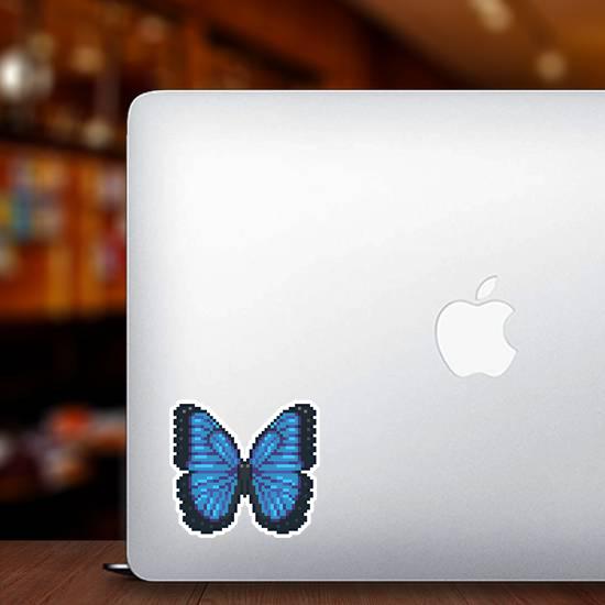 Pixel Art Blue Butterfly Sticker