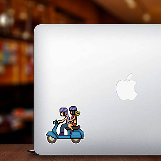 Pixel Art Couple Riding Scooter Sticker