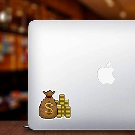 Pixel Art Gold Money Sticker