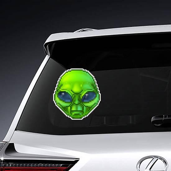 Pixel Art Green Alien Sticker example
