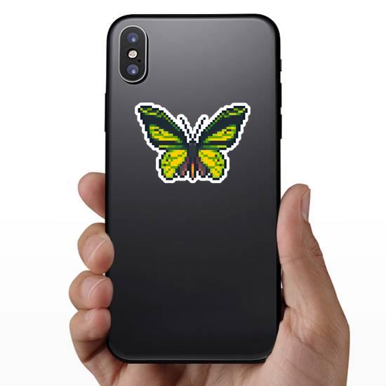 Pixel Art Green Butterfly Sticker