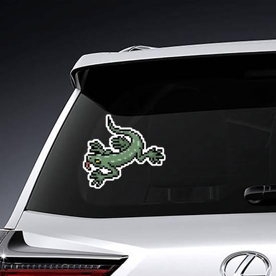 Pixel Art Green Gecko Sticker