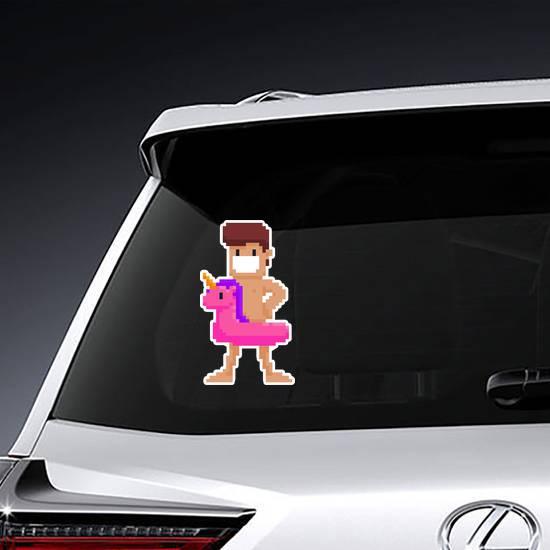 Pixel Art Male Swimming Circle Unicorn Sticker example