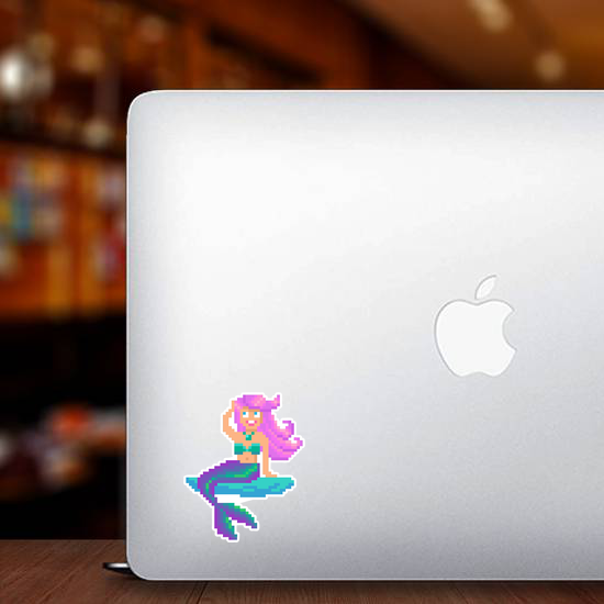 Pixel Art Mermaid On Stone Sticker