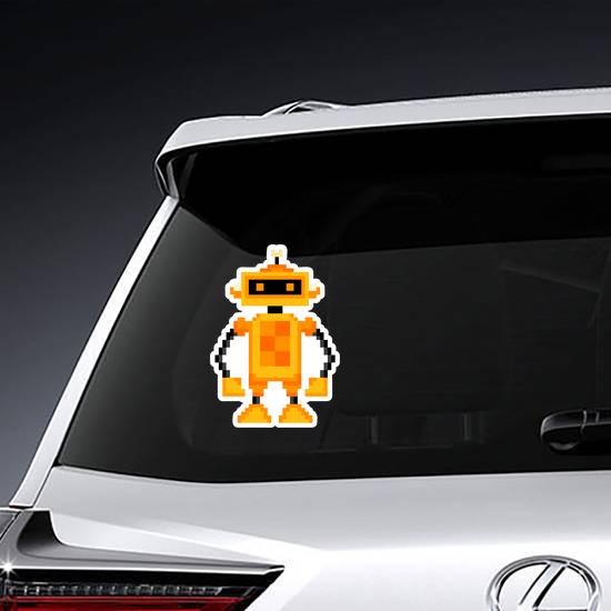 Pixel Art Orange Robot Sticker