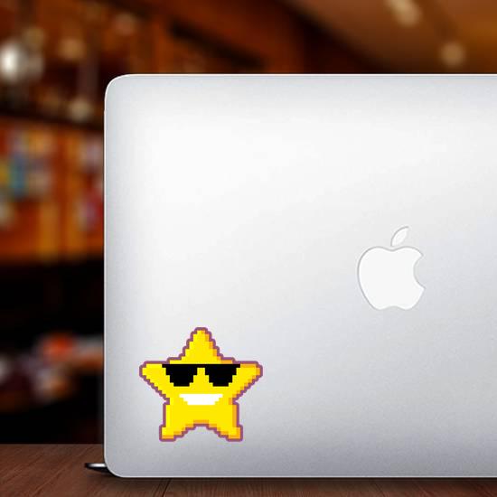 Pixel Art Star With Sunglasses Sticker