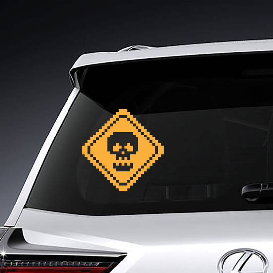 Pixel Art Yellow Road Sign With Skull Sticker
