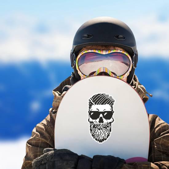 Pixel Rockabilly Skull Sticker