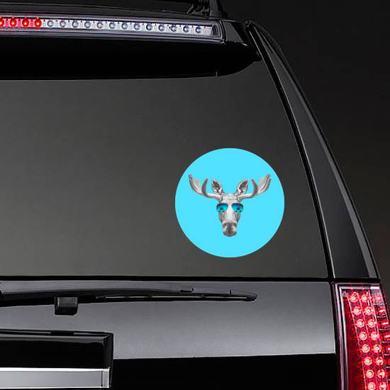 Portrait Of Moose With Mirror Sunglasses Sticker