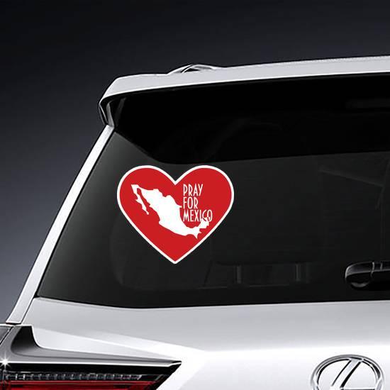 Pray For Mexico Heart Sticker example