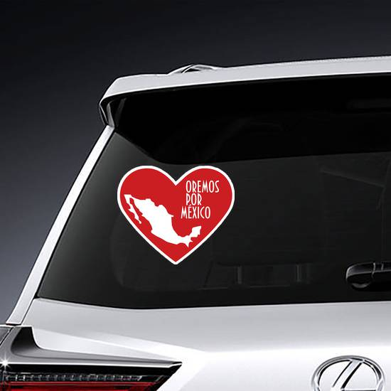 Pray For Mexico Spanish Heart Sticker example
