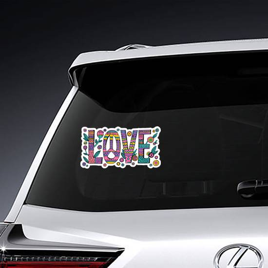 Psychedelic Hippie Love Sticker example