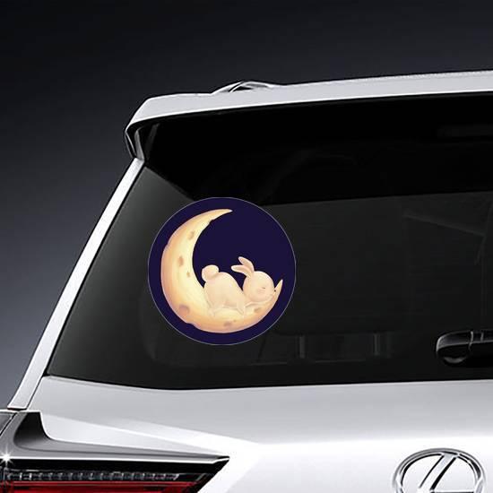 Rabbit Sleep On Moon Sticker example