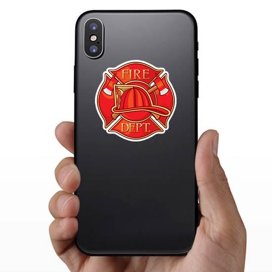 Red Fire Department Maltese Cross Sticker
