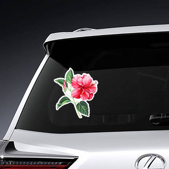 Red Hibiscus With Leaves And Bud Sticker example